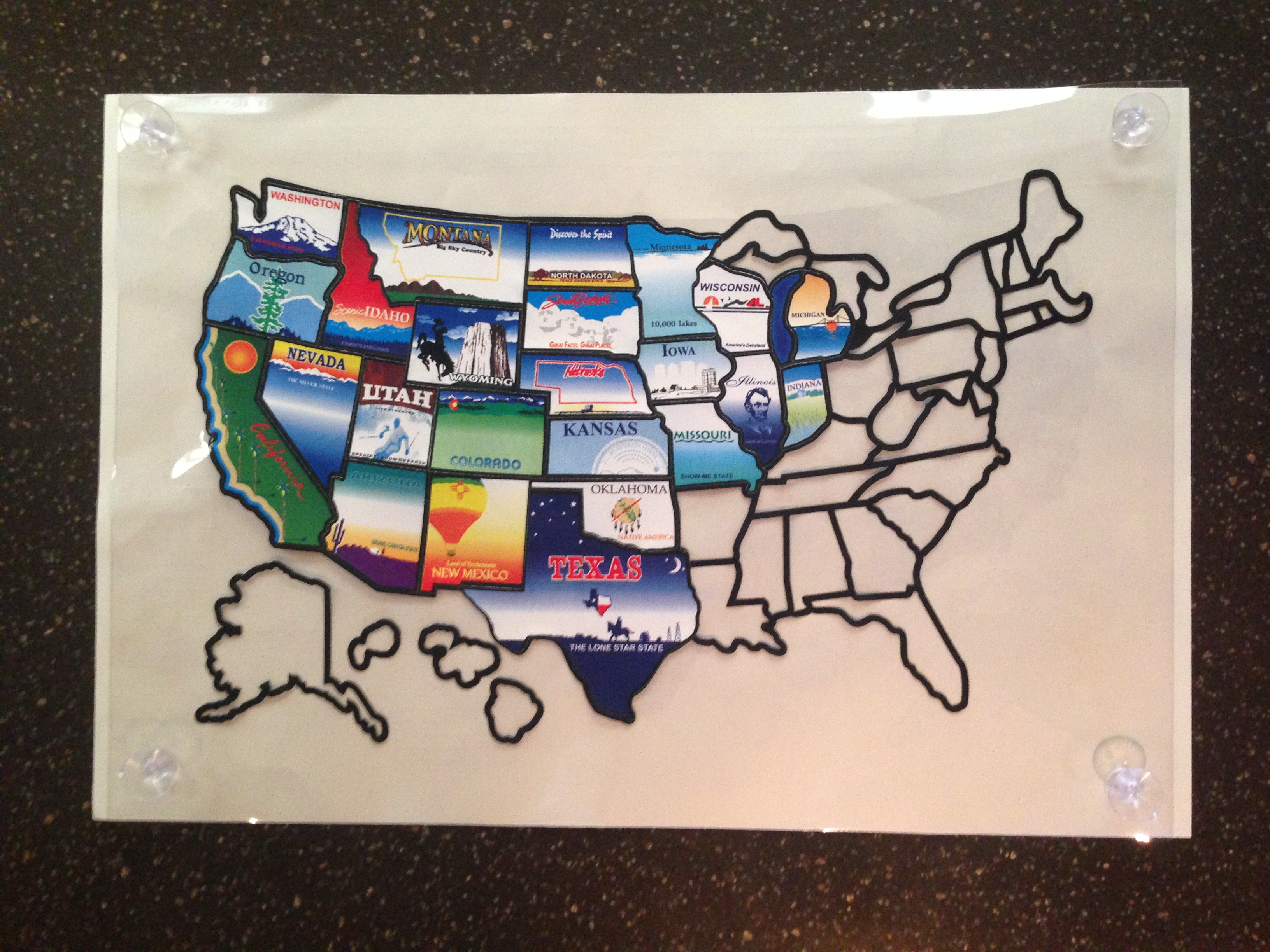 Halfway done! These are the states we've visited so far.