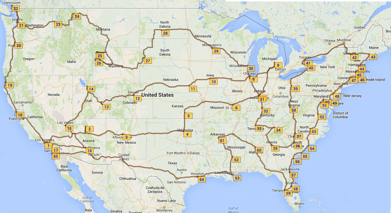 Updated Map of Our Route