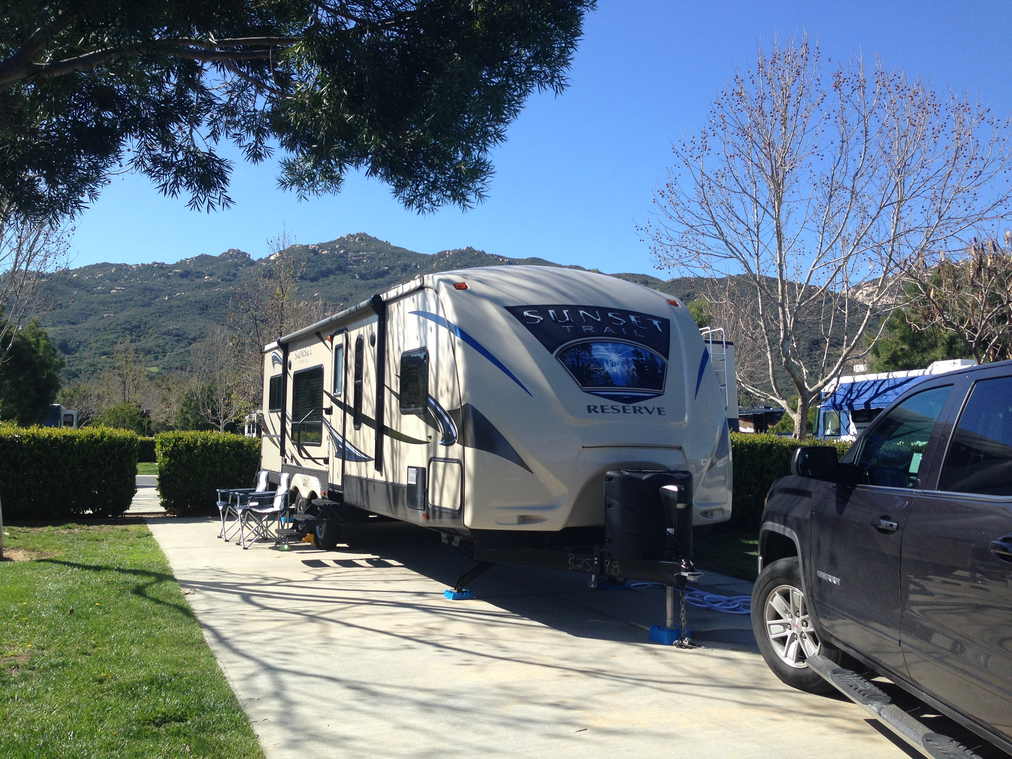 One of our lovely sites at the Pechanga RV Resort (loved the mountain backdrop!)
